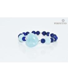 Hearts Crystal Aquamarine + Lapis Lazuli Bracelet