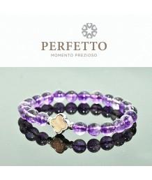 Meteorite Clover charm +Super Seven Purple Rutilated Quartz