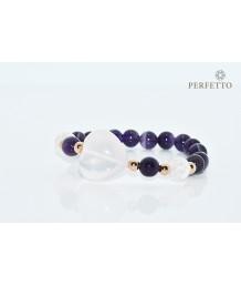 Hearts Crystal Rose Quartz+Uruguay Amethyst Bracelet