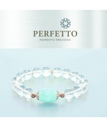 AQUAMARINE BEAD+STARBURST CLEAR QUARTZ BRACELET