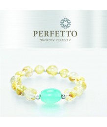 AMAZONITE + GOLDEN TITANIUM RUTILATED QUARTZ BRACELET