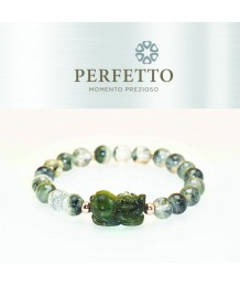 GREEN RUTILATED PIXIU +BLACK PHANTOM+BLACK RUTILATED (SYMBIOTIC) BRACELET