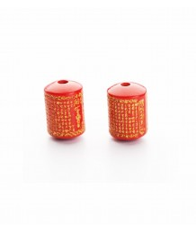 GREAT COMPASSION MANTRA CINNABAR DOTS BEAD