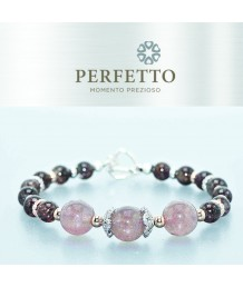 STRAWBERRY QUARTZ + RED COPPER RUTILLATED BRACELET