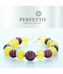 RED RUTILATED QUARTZ +YELLOW OPAL BRACELET