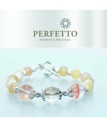 UNIQUE RUTILATED QUARTZ +HEMATOID QUARTZ + ORANGE MOONSTONE BRACELET