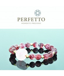 Rose Quartz Heart + Lepidocrocite Bracelet