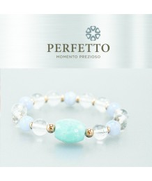 AQUAMARINE BEAD+SNOW PHANTOM RUTILATED QUARTZ W/ BLUE CHALCEDONY BRACELET