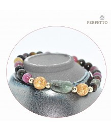 Green Rutilated Quartz Pixiu +Tourmaline Bracelet