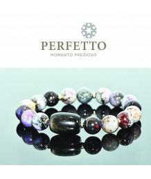 Golden Sheen Obsidian Bead + Sugilite Bracelet