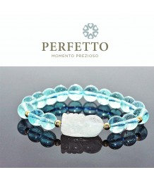 Blue Rutilated Quartz Pixiu + Blue Topaz Bracelet
