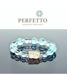 Gold Titanium Rutilated Quartz Pixiu + Blue Topaz Bracelet